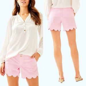 Lilly Pulitzer Seersucker Scalloped Shorts Size 0